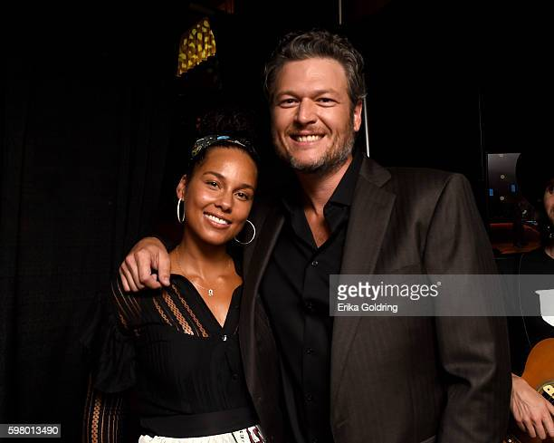 Singersongwriters Alicia Keys and Blake Shelton attend the 10th Annual ACM Honors at the Ryman Auditorium on August 30 2016 in Nashville Tennessee