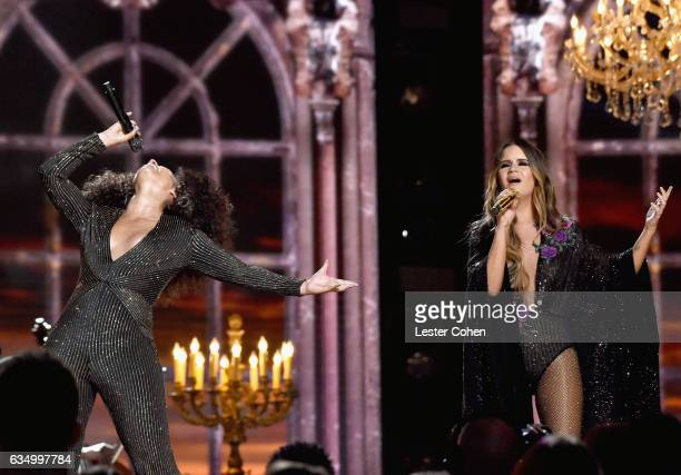 Singersongwriters Alicia Keys and Maren Morris perform onstage during The 59th GRAMMY Awards at STAPLES Center on February 12 2017 in Los Angeles...