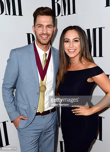 Singer/songwriters Andy Grammer and Aijia Lise attend The 64th Annual BMI Pop Awards honoring Taylor Swift and songwriting duo Mann Weil at the...