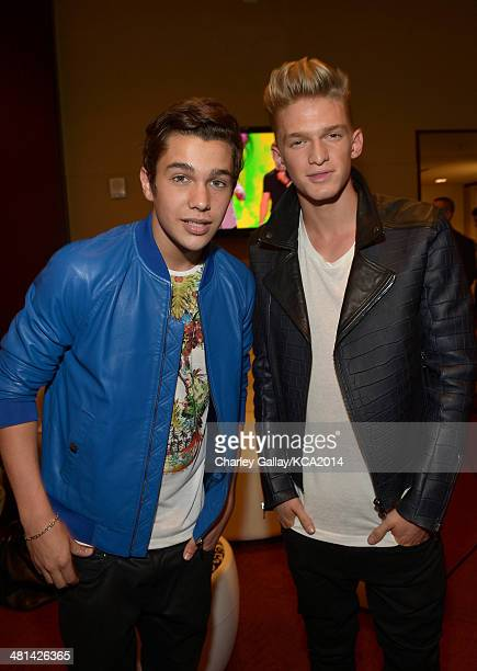 Singer/songwriters Austin Mahone and Cody Simpson attend Nickelodeon's 27th Annual Kids' Choice Awards held at USC Galen Center on March 29 2014 in...