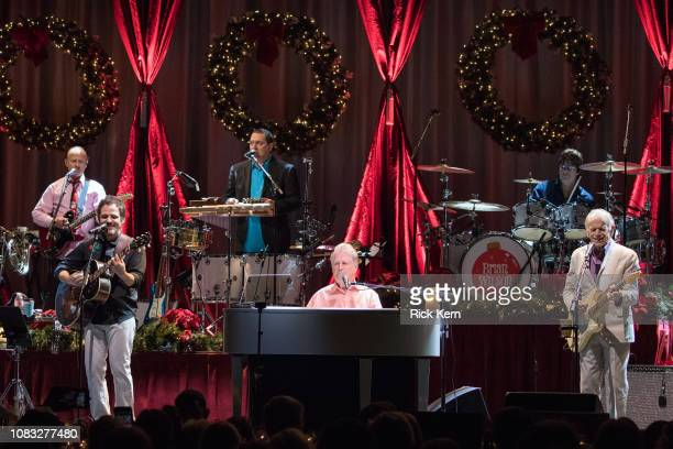 Singersongwriters Brian Wilson and Al Jardine perform in concert during Brian Wilson Presents The Christmas Album Live at ACL Live on December 15...