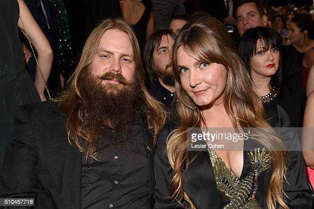 Singer-songwriters Chris Stapleton and Morgane Stapleton attend The 58th GRAMMY Awards at Staples Center on February 15, 2016 in Los Angeles,...