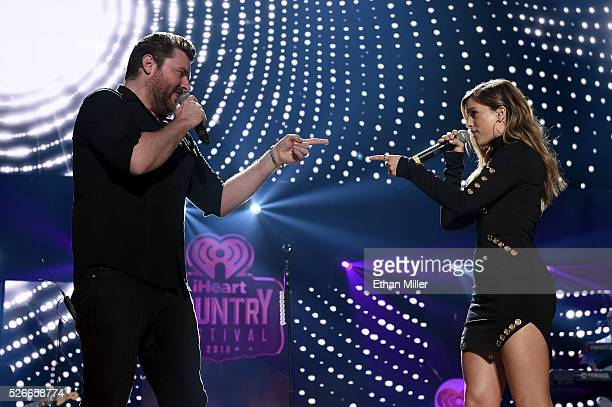 Singer/songwriters Chris Young and Cassadee Pope perform onstage during the 2016 iHeartCountry Festival at The Frank Erwin Center on April 30 2016 in...