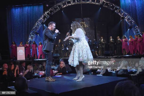 Singersongwriters Danny Gokey and Kierra Sheard perform on stage at the GMA Honors on May 9 2017 in Nashville Tennessee