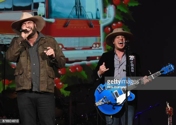 Singer/Songwriters David Tolliver and Chad Warrix of Halfway to Hazard performs during 2017 Christmas 4 Kids Concert at Ryman Auditorium on November...