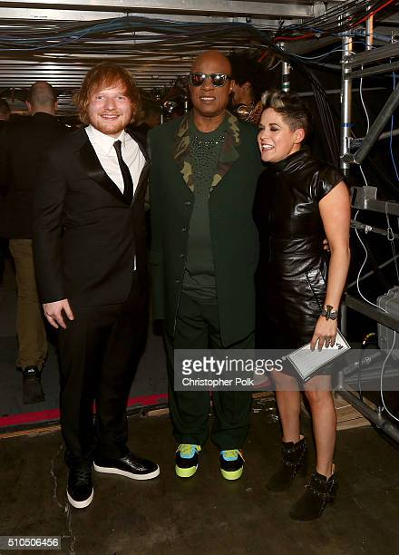 Singersongwriters Ed Sheeran and Stevie Wonder and songwriter Amy Wadge attend The 58th GRAMMY Awards at Staples Center on February 15 2016 in Los...