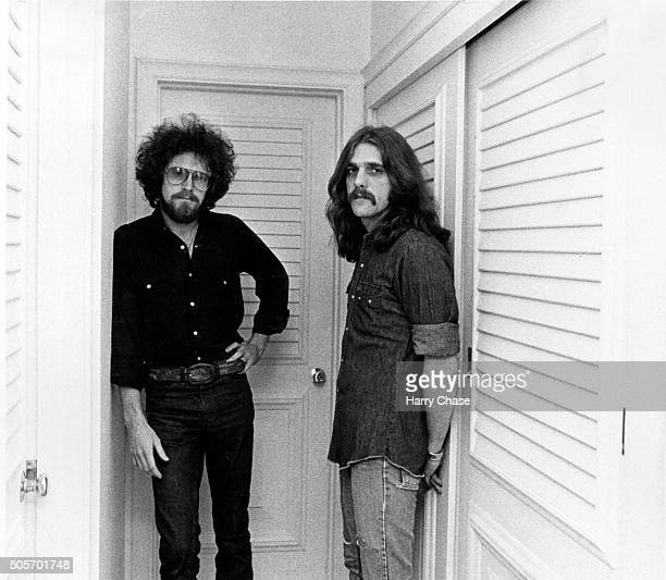 Singer/songwriters for the Eagles Don Henley and Glenn Frey are photographed for Los Angeles Times in 1977 in Los Angeles California PUBLISHED IMAGE...