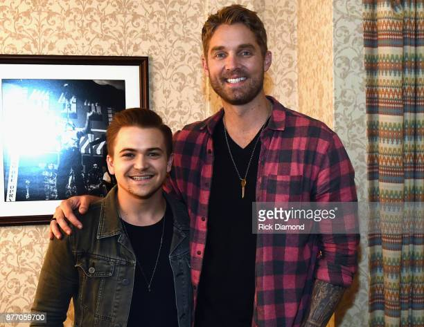 Singer/Songwriters Hunter Hayes and Brett Young backstage during 2017 Christmas 4 Kids Concert at Ryman Auditorium on November 20 2017 in Nashville...