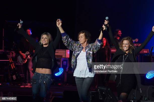 Singersongwriters Irene Grandi Emma and Gianna Nannini performing during Amiche in Arena a concert against femicide and violence against women...