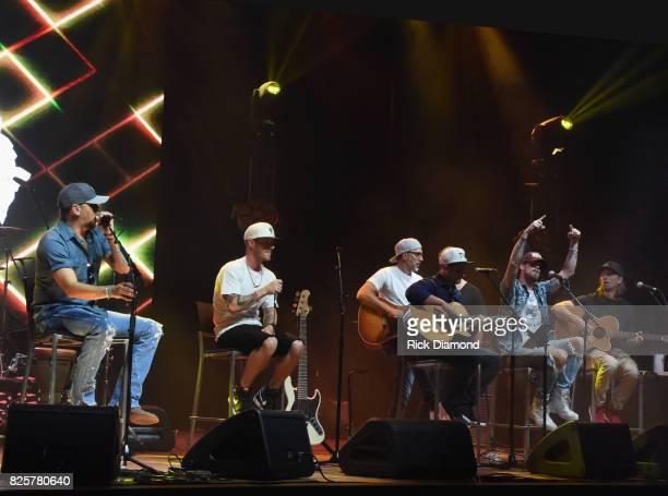 Singer/Songwriters Jason Aldean Tyler Hubbard Brett Warren Deric Ruttan Brian Kelley and Brad Warren performs during Jason Aldean's Triple Party at...