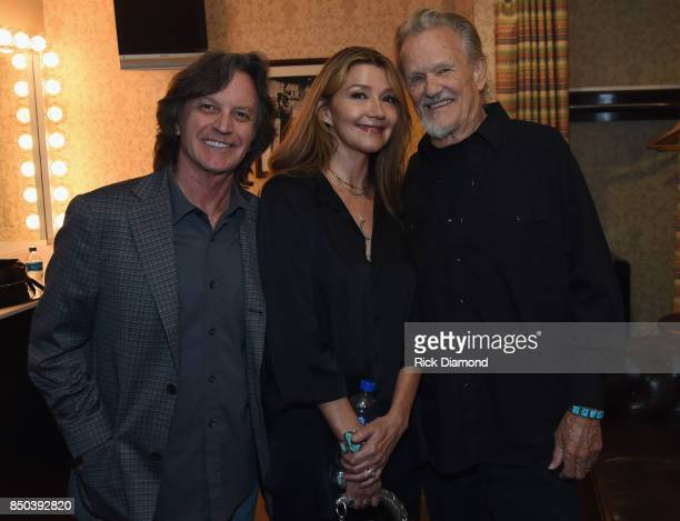 Singer/Songwriters Jeff Hanna Nitty Gritty Dirt Band Singer/Songwriter Matraca Berg and Singer/Songwriter Kris Kristofferson backstage during NSAI 50...