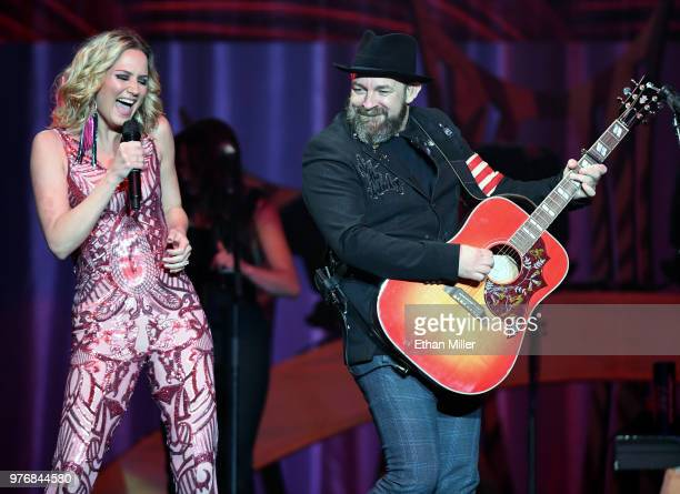 Singer/songwriters Jennifer Nettles and Kristian Bush of Sugarland perform during a stop of the duo's Still the Same Tour in support of the new album...