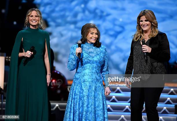 Singer-songwriters Jennifer Nettles, Loretta Lynn and Trisha Yearwood perform on stage during the CMA 2016 Country Christmas on November 8, 2016 in...