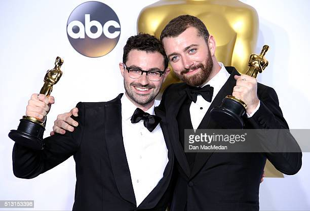 Singer/songwriters Jimmy Napes and Sam Smith winners for Best Original Song for 'Writing's On The Wall' for 'Spectre' pose in the press room at the...