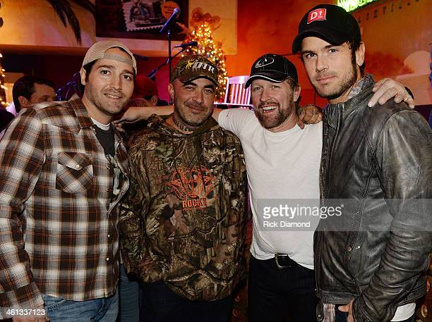 Singer/Songwriters Josh Thompson Aaron Lewis Craig Morgan and Chuck Wicks attend the 2014 ATA Trade Show Party sponsored by F3 Entertainment at...