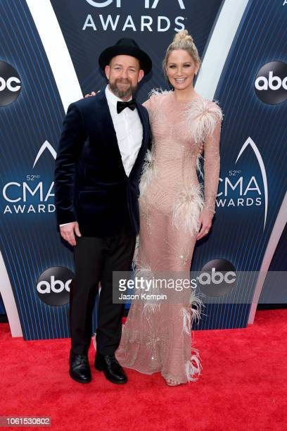 Singersongwriters Kristian Bush and Jennifer Nettles of musical duo Sugarland attend the 52nd annual CMA Awards at the Bridgestone Arena on November...