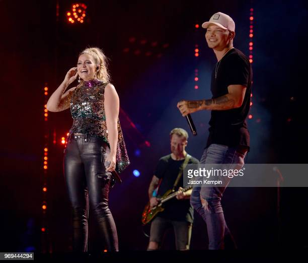 Singersongwriters Lauren Alaina and Kane Brown perform onstage during the 2018 CMA Music festival at the Nissan Stadium on June 7 2018 in Nashville...