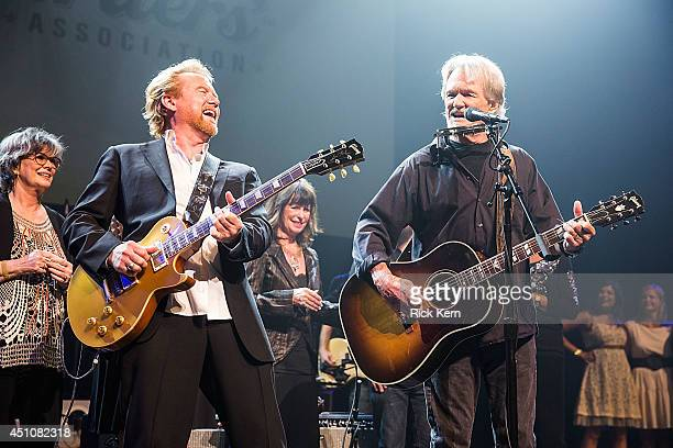 Singersongwriters Lee Roy Parnell Jessi Colter and Kris Kristofferson perform on stage as part of the 9th Annual Texas Heritage Songwriters' Hall of...
