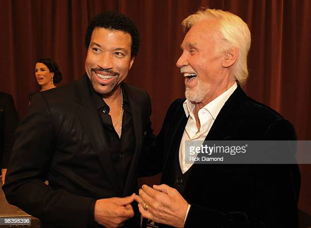 Singer/Songwriters Lionel Richie and Honoree Kenny Rogers have a laugh Backstage at the Kenny Rogers: The First 50 Years show at the MGM Grand at...