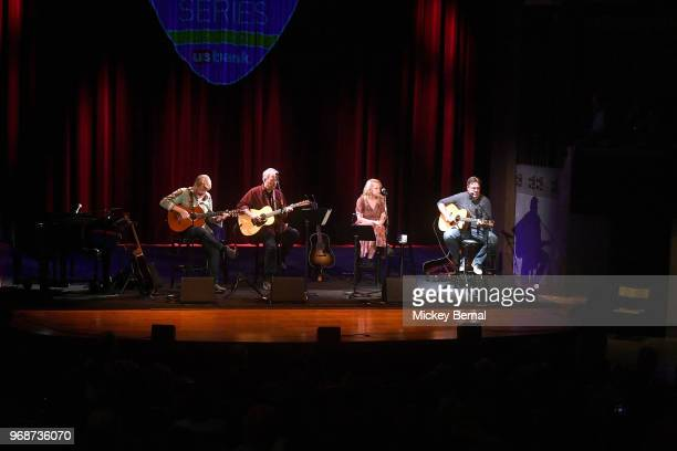 Singer/songwriters Mac McAnally Don Schlitz Mary Chapin Carpenter and Vince Gill perform during CMA Songwriters Series Featuring Mary Chapin...