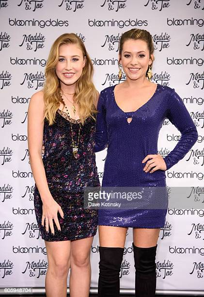 Singer/songwriters Madison Marlow and Taylor Dye from Maddie Tae attend the Aqua X Maddie Tae Capsule Collection Celebration at Bloomingdale's on...