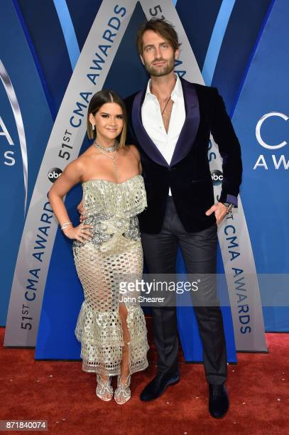 Singersongwriters Maren Morris and Ryan Hurd attends the 51st annual CMA Awards at the Bridgestone Arena on November 8 2017 in Nashville Tennessee