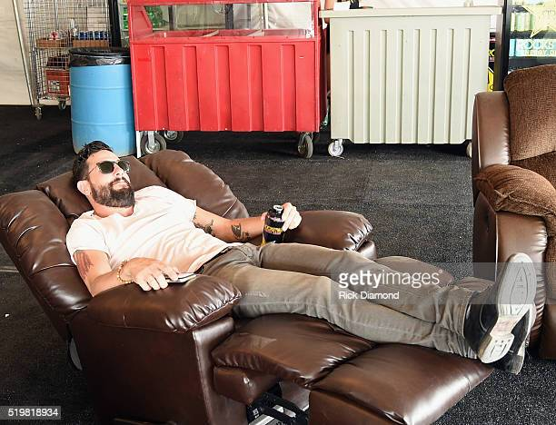 Singer/Songwriters Matthew Ramsey of Old Dominion relaxes backstage during County Thunder Music Festivals Arizona Day 1 on April 7 2016 in Florence...
