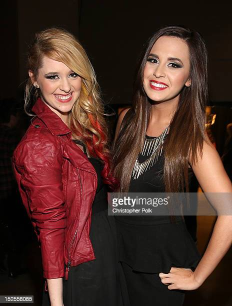 Singer/songwriters Megan Mace and Liz Mace of Megan and Liz pose backstage during the 2012 iHeartRadio Music Festival at the MGM Grand Garden Arena...