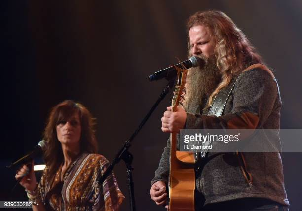 Singer/Songwriters Melonie Cannon and Jamey Johnson perform during Daryle Singletary Keepin' It Country Tribute Show at Ryman Auditorium on March 27...