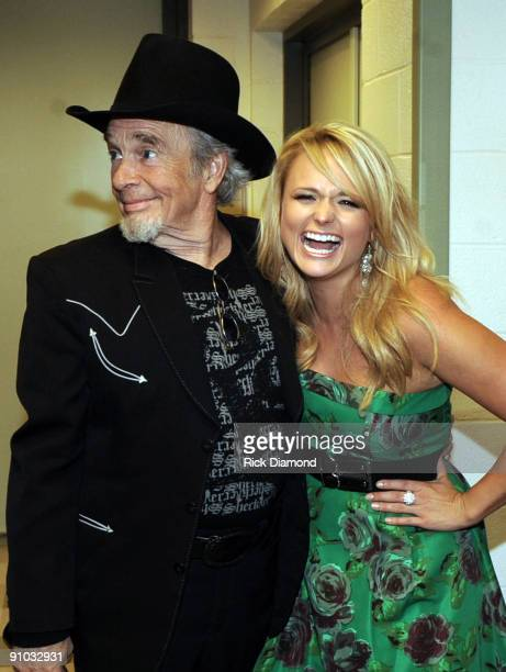 Singersongwriters Merle Haggard recipient of the Poet's Award and Miranda Lambert backstage during the second annual ACM Honors at Schermerhorn...
