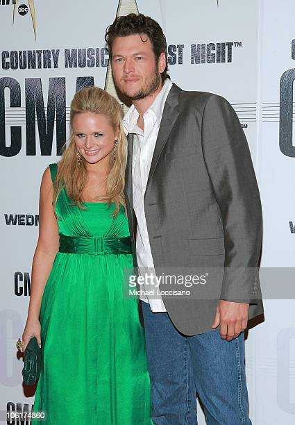Singer/songwriters Miranda Lambert and Blake Shelton arrive at the 41st Annual CMA Awards at the Sommet Center on November 7 2007 in Nashville TN