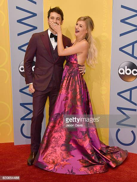 Singer-songwriters Morgan Evans and Kelsea Ballerini attend the 50th annual CMA Awards at the Bridgestone Arena on November 2, 2016 in Nashville,...