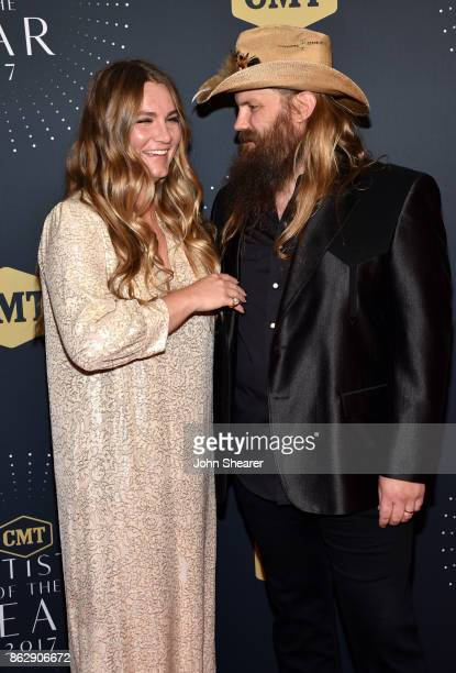 Singersongwriters Morgane Stapleton and Chris Stapleton arrive at the 2017 CMT Artists Of The Year on October 18 2017 in Nashville Tennessee