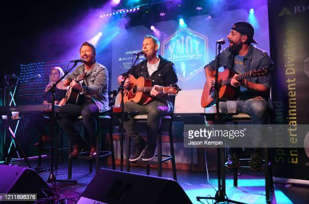 Singer/songwriters Nicolette Hayford Shane McAnally Trevor Rosen and Matthew Ramsey perform at Live Oak on March 11 2020 in Nashville Tennessee