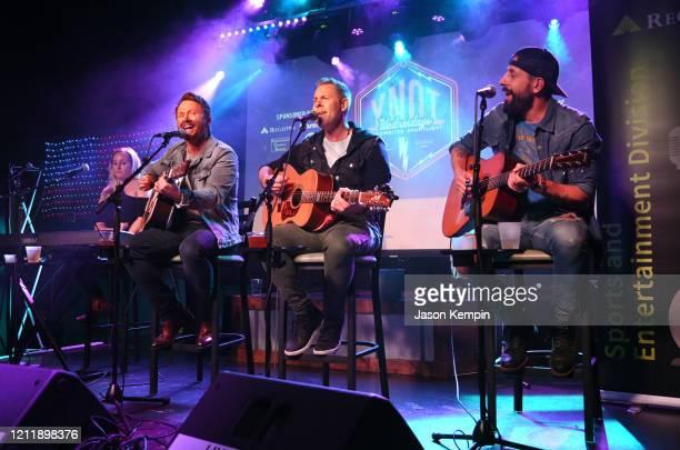 Singer/songwriters Nicolette Hayford Shane McAnally Trevor Rosen and Matthew Ramsey perform at Live Oak on March 11 2020 in Nashville Tennessee