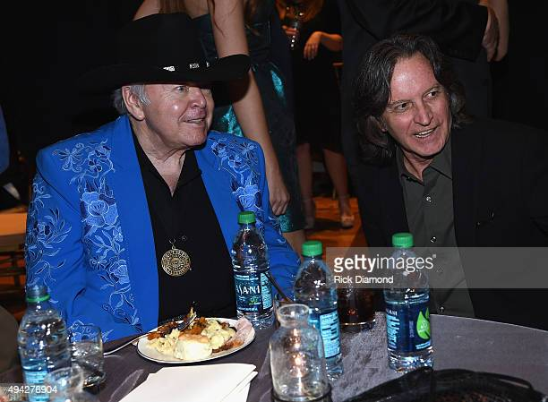 Singer/Songwriters Roy Clark and Jeff Hanna Nitty Gritty Dirt Band attend The Country Music Hall of Fame 2015 Medallion Ceremony at the Country Music...