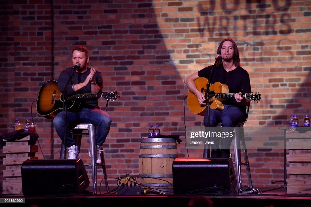 Singer/Songwriters Shane McAnally and Brad Warren performs onstage during the CMA Songwriters Series Celebrating CMA's 9th Annual Tripple Play Awards at Marathon Music Works on February 20, 2018 in Nashville, Tennessee.