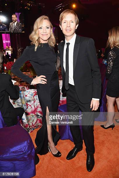 Singersongwriters Sheryl Crow wearing Bulgari and Beck attend Bulgari at the 24th Annual Elton John AIDS Foundation's Oscar Viewing Party at The City...