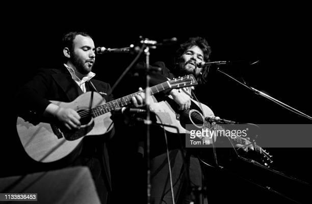 Singer-songwriters Steve Goodman and John Prine perform at Atlanta Symphony Hall on April 26, 1974 in Atlanta, Georgia.