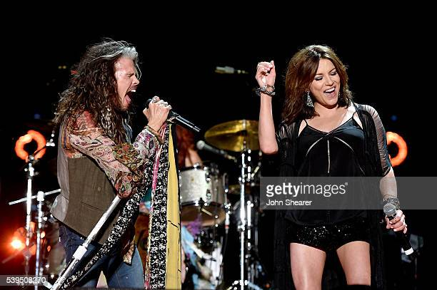 Singersongwriters Steven Tyler and Martina McBride perform onstage during 2016 CMA Festival Day 3 at Nissan Stadium on June 11 2016 in Nashville...