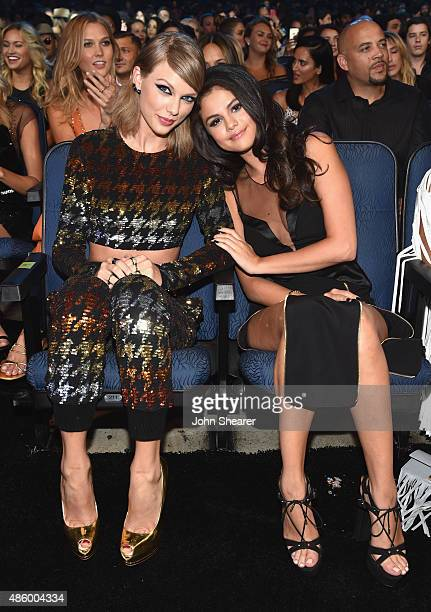 Singersongwriters Taylor Swift and Selena Gomez in the audience during the 2015 MTV Video Music Awards at Microsoft Theater on August 30 2015 in Los...