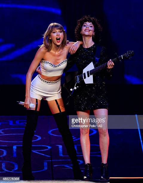 Singersongwriters Taylor Swift and St Vincent perform onstage during Taylor Swift The 1989 World Tour Live In Los Angeles at Staples Center on August...