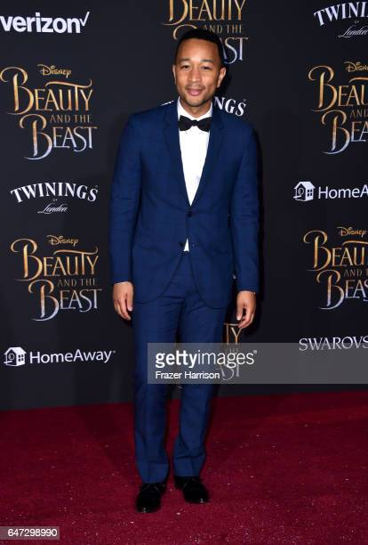 Singer/sonngwriter John Legend attends Disney's 'Beauty and the Beast' premiere at El Capitan Theatre on March 2 2017 in Los Angeles California