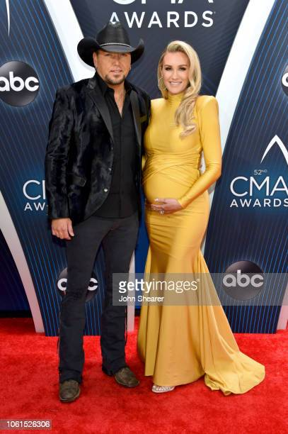 Singersonwriter Jason Aldean and Brittany Kerr attend the 52nd annual CMA Awards at the Bridgestone Arena on November 14 2018 in Nashville Tennessee