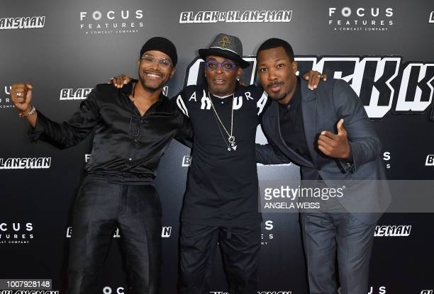 US singer/sonwriter Maxwell director Spike Lee and actor Corey Hawkins attend the 'BlacKkKlansman' New York Premiere at BAM Harvey Theater on July 30...