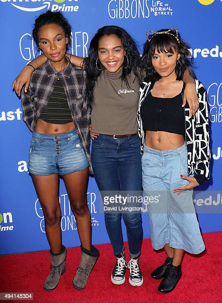 Singers/sisters Sierra Aylina McClain China Anne McClain and Lauryn Alisa McClain attend the Just Jared Fall Fun Day at a private residence on...