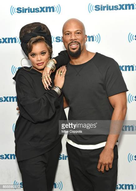 Singers/songwriter Andra Day and hip hop recording artist Common pose for a picture during their visit to SiriusXM Studios on September 29, 2017 in...