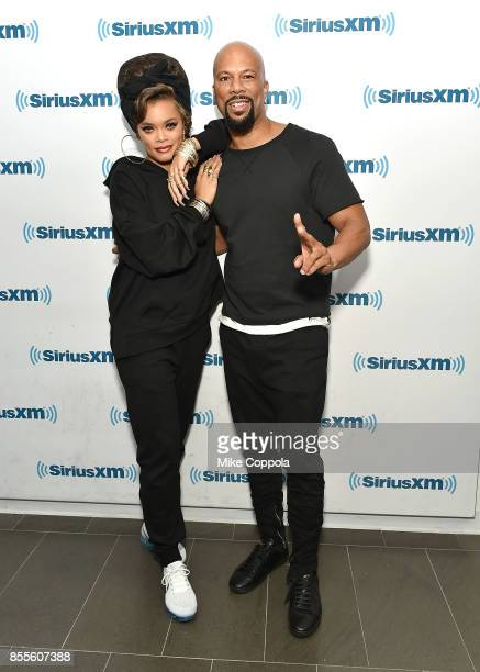 Singers/songwriter Andra Day and hip hop recording artist Common pose for a picture during their visit to SiriusXM Studios on September 29 2017 in...