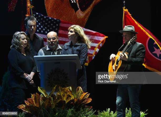 Singers/Songwriters Alison Krauss and The Cox Family perform during Nashville Candelight Vigil For Las Vegas at Ascend Amphitheater on October 2 2017...