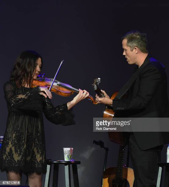 Singers/Songwriters Amanda Shires and Jason Isbell perform during Love Letters Thistle Farms Turns 20 at the Ryman Auditorium on May 3 2017 in...